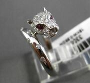Estate Wide .71ct Diamond And Aaa Ruby 18kt White Gold 3d Etoile Tiger Ring Cute