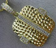 Estate .32ct Diamond 18kt Yellow Gold 3d Square Hammered Floating Fun Pendant