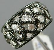 Wide 1.78ct White And Black Diamond 18kt White Gold 3d Multi Row Etoile Wave Ring