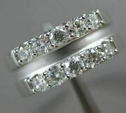 Estate 1.11ct Diamond 18kt White Gold Matte And Shiny Double Row Anniversary Ring