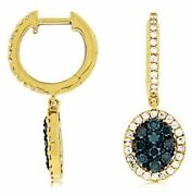 Estate 1.06ct White And Blue Diamond 14k Yellow Gold 3d Oval Halo Hanging Earrings