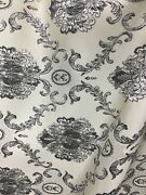 Beige Gray Black White Damask Brocade Upholstery Drapery Fabric 54 In. Bty