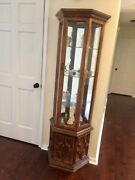 Antique Curio 1900-1950 French Oak Cabinet Beautiful 6 Feet With Built In Light