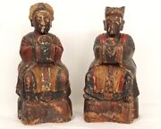 Pair Statues Reliquaries Boxes In Wishes Characters Wood Carved China 19andegrave