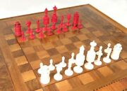 Game Chess And Draughts Set With Antique Carved Parts King Queen Bobbins Rider