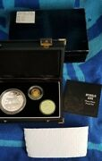 1995 Russian Lynx 3 Coin Silver And Gold Proof Set