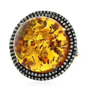 15.77ct Natural Amber Cocktail Ring 925 Sterling Silver 14k Yellow Gold Jewelry