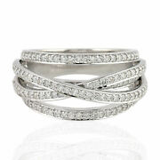 Memorial Day Sale 0.85ct Natural Diamond Band Ring 18k White Gold Jewelry