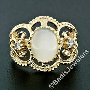 Vintage 14k Yellow Gold Oval Catand039s Eye Moonstone And .14ct Diamond Cigar Band Ring