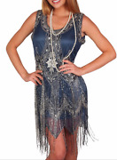 Sequin Bead Flapper Dress Blue Silver Gray Fringe 20and039s Costume S M L Xl 1x 2x