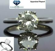 Solitaire Diamond Ring Round Brilliant Women 1 Carat Four Prong 18 Kt White Gold