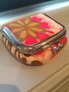 Vera Bradley Travel Contact Lens Case Kiss Lock Pouch With Mirror Pink Floral