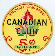 Early 1900andrsquos Canadian Club 5 Cent Cigar Cardboard 7 Inch Sign