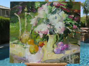 Impressionism Oil Canvas Late Breakfast Original Painting Russian Art Signed Xl