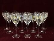 Vintage Set Of 12 Givenchy Chateau Crystal Wine Glasses Flowers Butterflies
