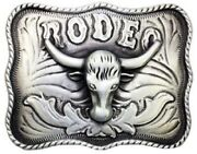 Cowboy Style Rodeo Bull Design Menand039s 925 Sterling Silver Belt Buckle