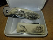 Matching Scrmishaw Knife And Money Clip And Swiss Army