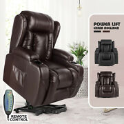 Electric Power Lift Massage Chair Leather Recliner Heat Vibration Rc Brown/black