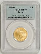 2008-w 10 Gold Eagle Pcgs Ms70 -- Key Date For The Series