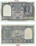 Genuine 10 Rs Indian Banknote 2nd Issue King George Vi Collectible. G5-64