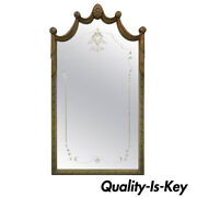 Louis Xv Style Green And Gold Carved Drape Floral Etched Glass Wall Mirror