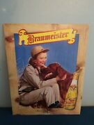 1940s Braumeister Beer Lady Hunting With Gun And Lab Dog Cardboard Sign Milwaukee