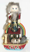 Vintage Large 16 Noahand039s Ark Wooden Nutcracker Handmade Christmas Animal Rainbow