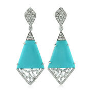 Pave Diamond Turquoise White Gold Dangle Earrings Baguette Jewelry