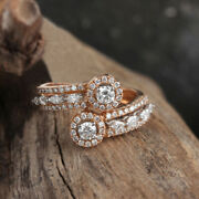 Natural 0.93 Ct Diamond Pave Cuff Ring Solid 18k Rose Gold Handmade Fine Jewelry