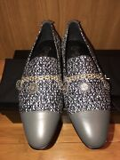 Nib Tweed Silver Charms Coins Chain Gray Leather Cap Toe Loafers 39.5