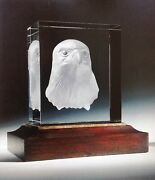Steuben Glass Majestic Eagle Sculpture With Base Signed By Designer Rare