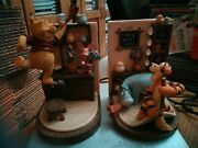 Extremely Rare Walt Disney Winnie The Pooh Home Figurine Bookends Statue Set
