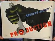 Ww Ll Americaand039s Answer Production By Jean Carlu Linen-backed Poster 38 X 30