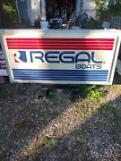 Regal Boat Dealership Sign Double Sided Lighted 3 Ft Tall 6 Feet Wide Very Nice