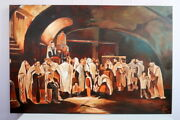 Judaica Wall Oil Painting On Canvas Of Jewish Picture Rabbis 35.4 X 23.6