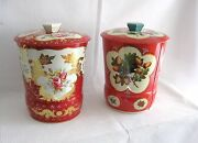 .....pair Of Candy / Toffee Tins...wild Fruits // Roses Theme Decoration...