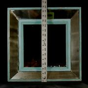 Antique 9.5 Sq Mirror W Deep Painted Wood Frame Mirror Panels 15.7 Sq Nds Work
