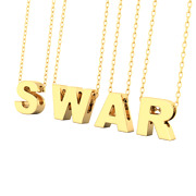 18k Gold Alphabetic Pendant For Women Men Kids Initial Necklace With 16 Chain