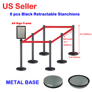 6pcs Black Stainless Steel Retractable Stanchions With 1pc A4 Sign Frame