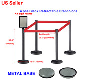 4pcs Black Stainless Steel Retractable Stanchions With 1pc A4 Sign Frame