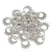 100pc Tibetan Silver Alloy Chandelier Components Links Flat Round Charms 24x20mm