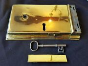 One Reclaimed Antique Brass Regency Rim Lock With Matching Key And Keep Eb386