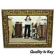 Antique French Baroque Rococo Style Pierce Carved Wood Large 50 X 65 Gold Mirror