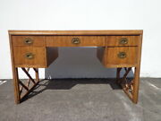 Vintage Campaign Desk Wood Bamboo Base Tooled Leather Top Mid Century Desk Mcm