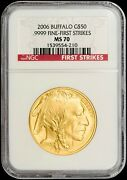 2006 50 Gold American Buffalo Ngc Ms70 First Strikes