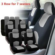 3 Row Car Seat Covers Full Set Universal For 7 Seaters Auto Trucks Suv Gray