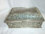 Antique Vintage Silver Plated Russian,soviet Jewelry Box, Metal,with Ornaments