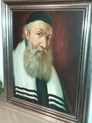 Antique Large Signed Painting Jewish Rabbi, Judaica, Framed 28 By 32 W. Topman
