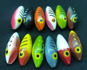 Vintage Fishing Thurberandrsquos Lucky J-23 Casting Fish Lures Wooden Bodies Only 1960s