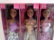 Beautiful African American Black Toy Model Dolls With Fashion Dresses Lot Of 3